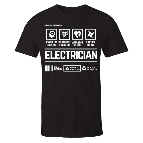 Electrician Handling Black Shirt