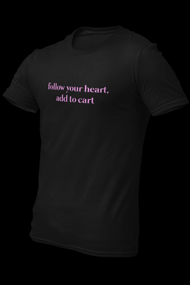 Follow Your Heart Add To Cart Black Pink Light Print Embroidered Cotton Shirt