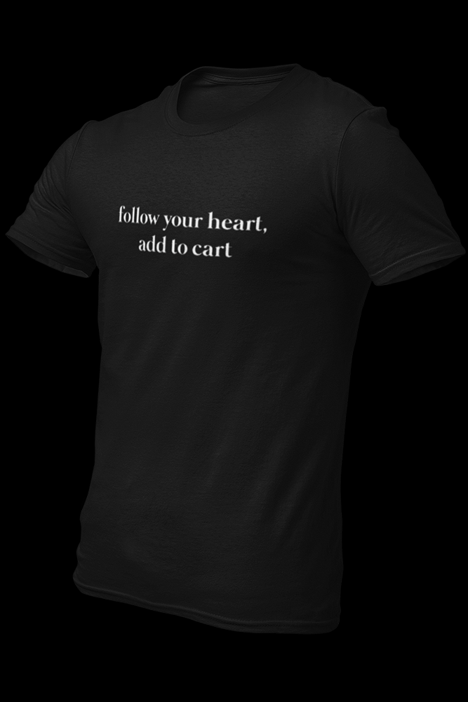 Follow Your Heart Add To Cart Black Embroidered Cotton Shirt
