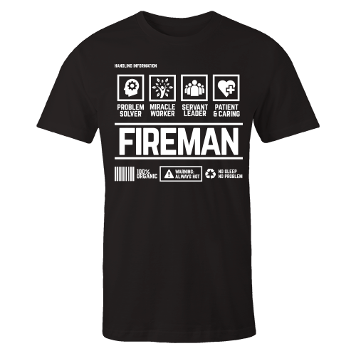 Fireman Handling Black Cotton Shirt