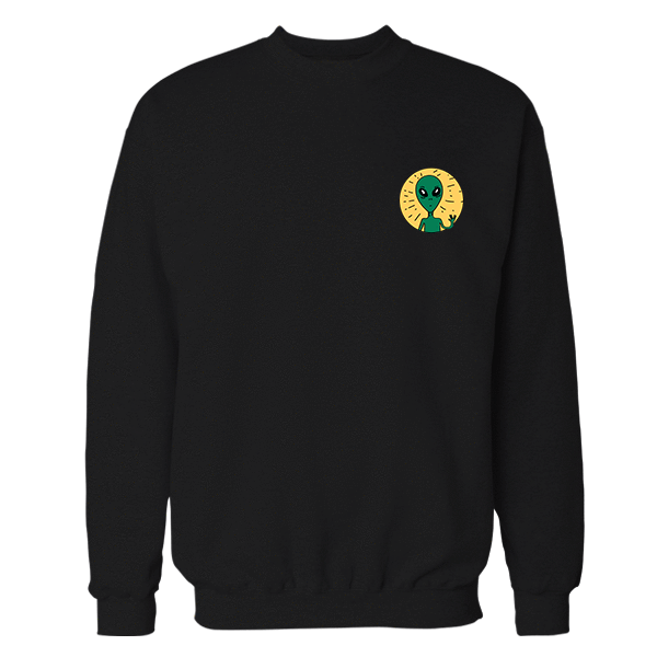 UFO Friend Black Embroidered Cotton Sweatshirt
