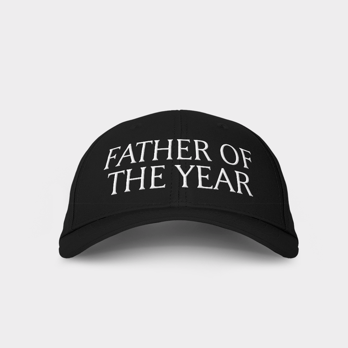 Father of the Year Black Embroidered Cap