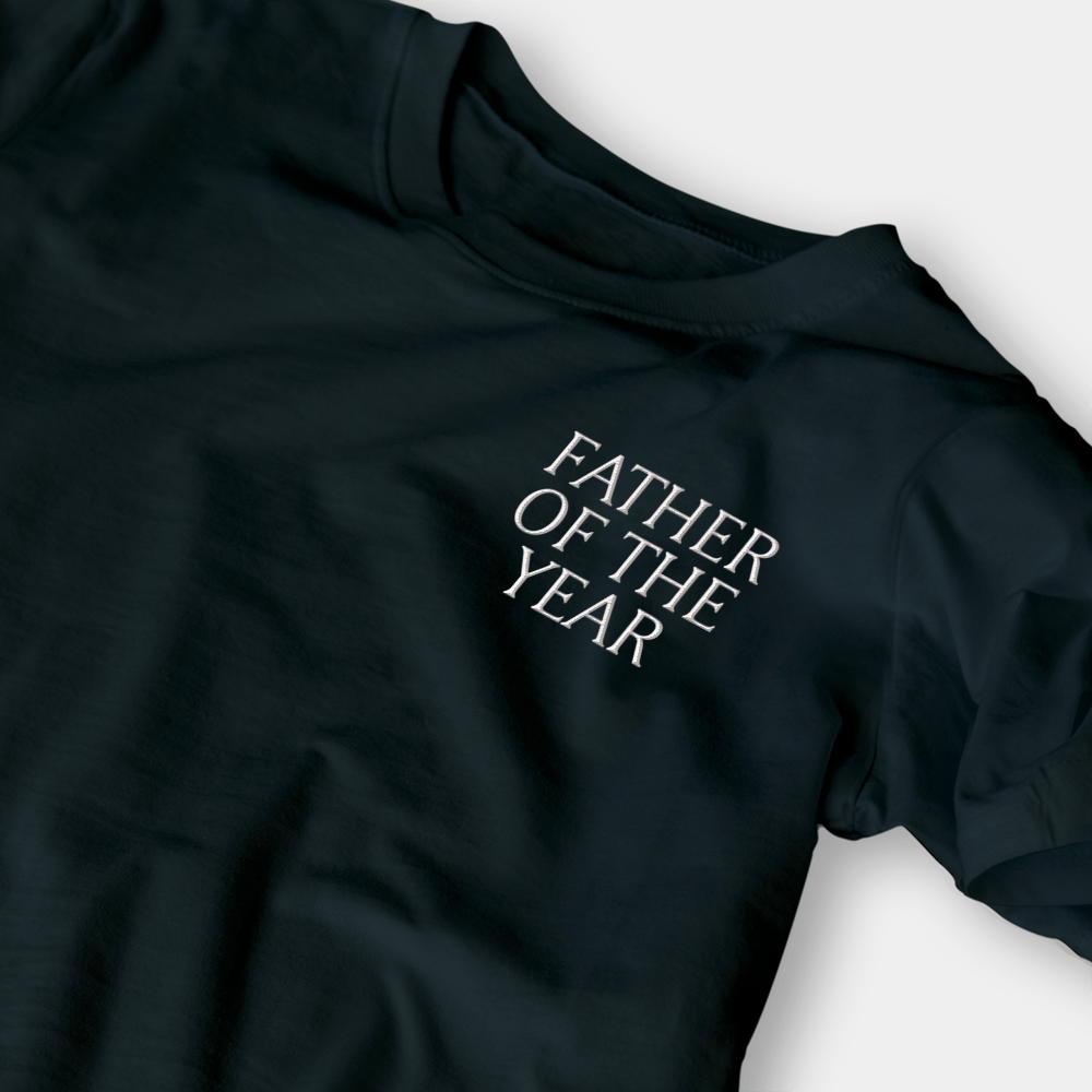 Father of the Year Black Embroidered Shirt
