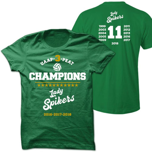 2018 Lady Spikers Championship Green Shirt With Back Print