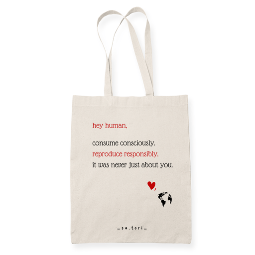 Hey Human Sublimation Canvass Tote Bag