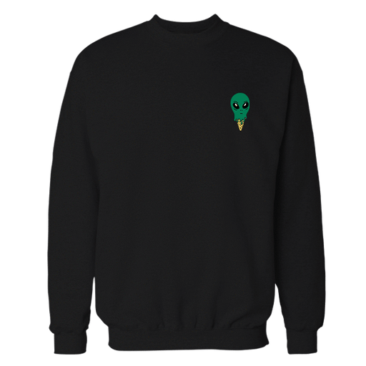 UFO Ice Cream Black Embroidered Cotton Sweatshirt