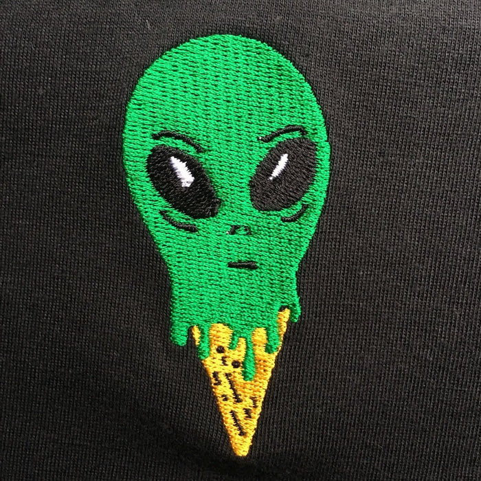UFO Ice Cream Black Embroidered Cotton Shirt