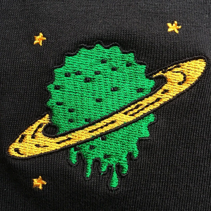 UFO Planet Black Embroidered Cotton Shirt