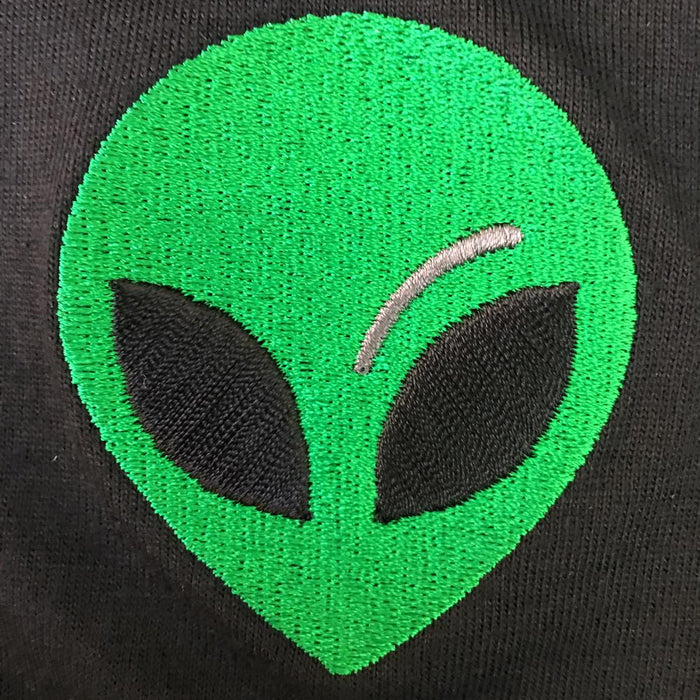 Alien Embroidered Cotton Black Shirt