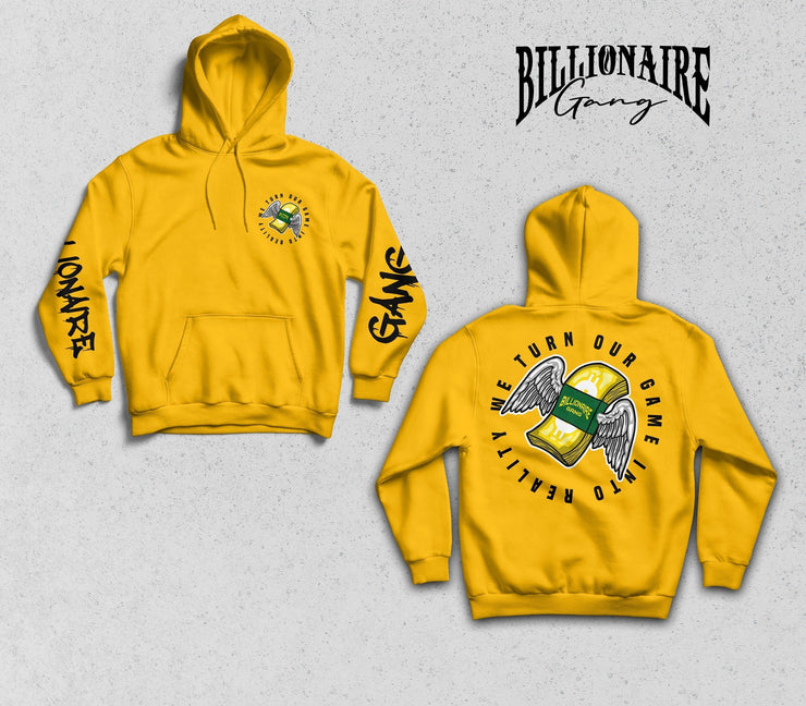 Billionaire Gang Yellow Hoodie of Billionaire Gang Clothing by Von Ordona