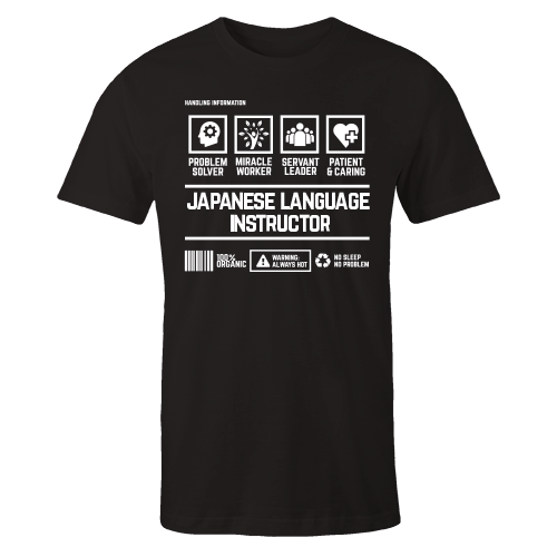 Japanese Language Instructor Handling Black Cotton Shirt