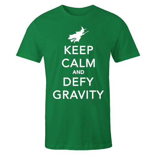 Keep Calm Defy Gravity Green Cotton Shirt