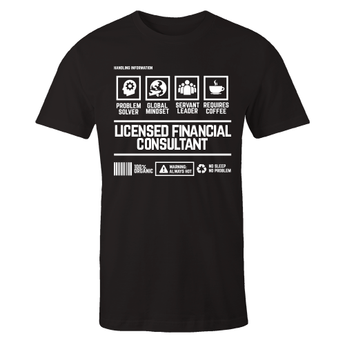 Licensed Financial Consultant Handling Black Cotton Shirt