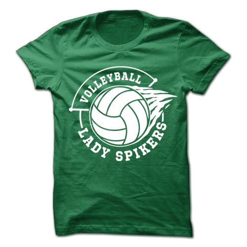 Lady Spikers Volleyball Green Cotton Shirt