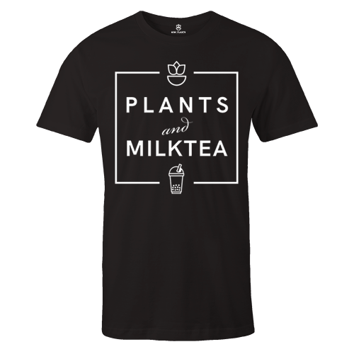 Milktea Plants Black Cotton Shirt
