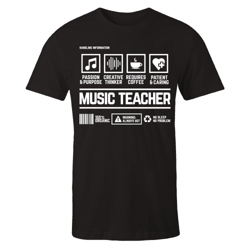 Music Teacher Handling Black Cotton Shirt