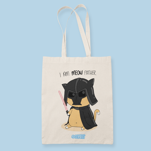 Meow Father Sublimation Canvass Tote Bag