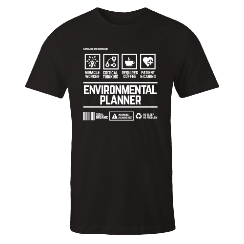 Environmental Planner Handling Black Cotton Shirt
