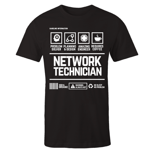 Network Technician Handling Black Cotton Shirt