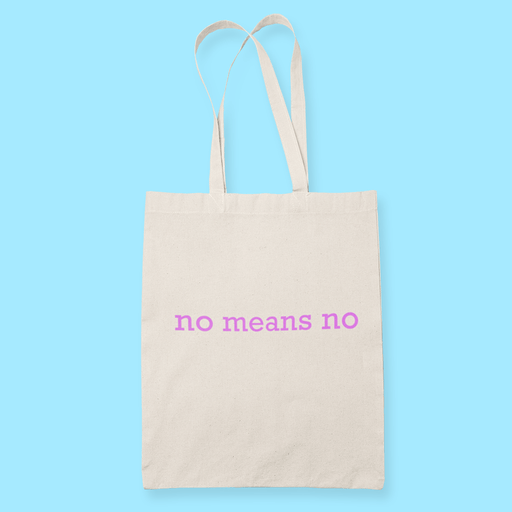 No Means No v2 Sublimation Canvass Tote Bag