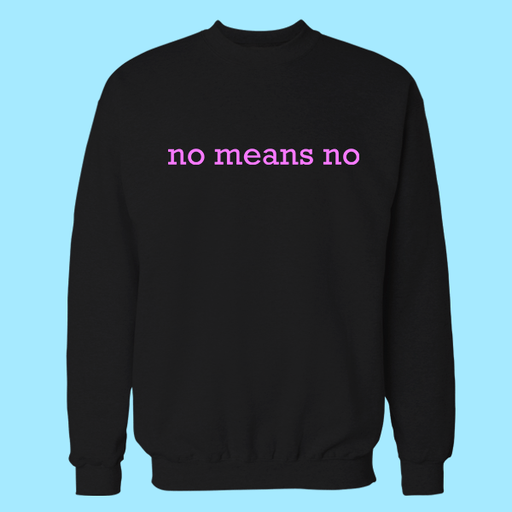 No Means Black Embroidered Cotton Sweatshirt