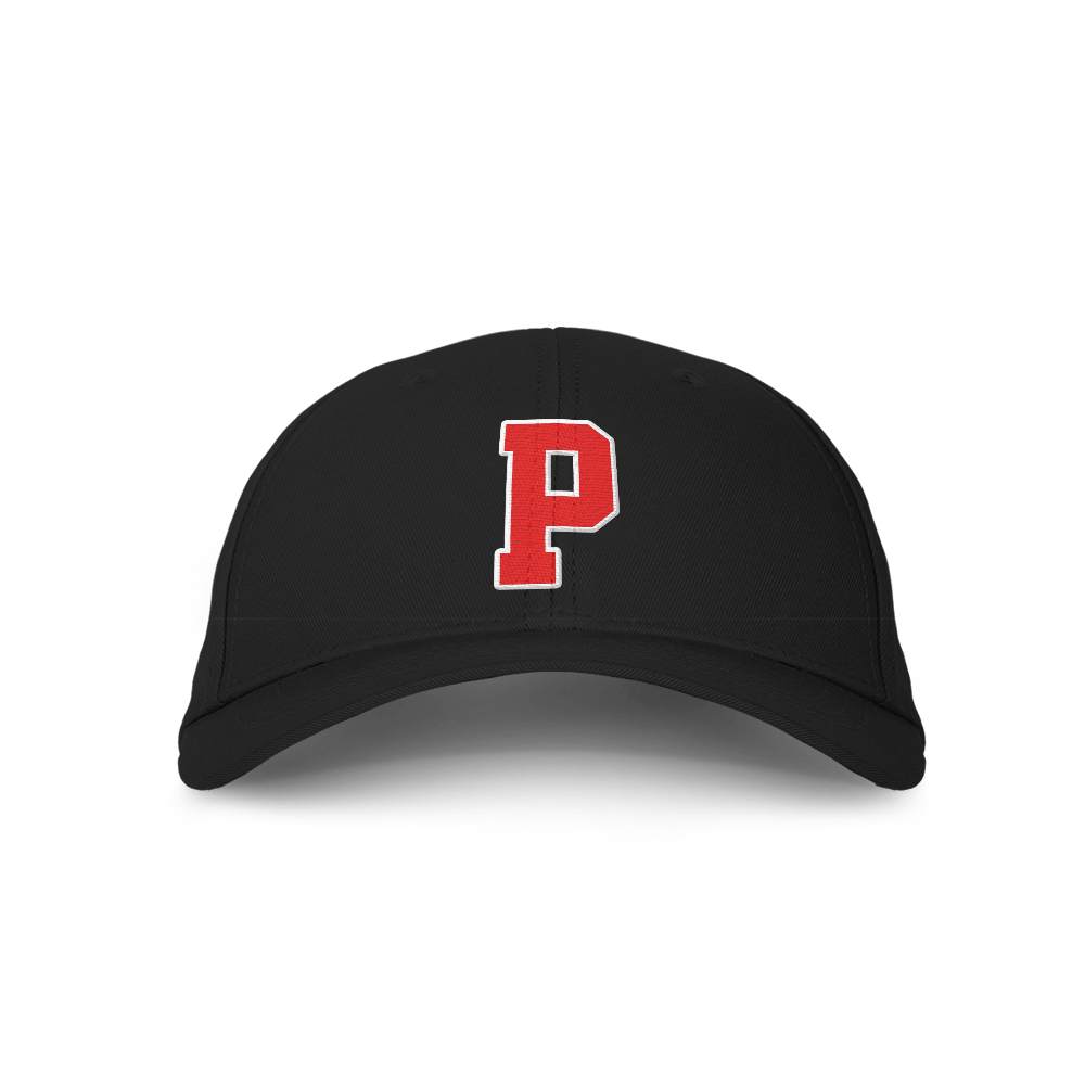 Letter P Black Embroidered Cap
