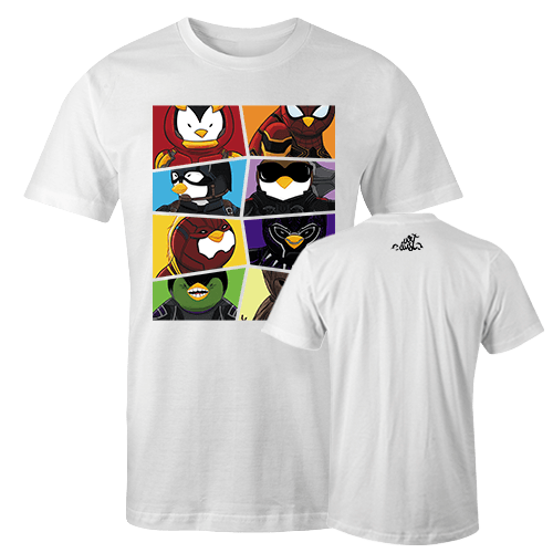 Penguins Comics Mashup Assemble Sublimation Dryfit Shirt With Logo At The Back