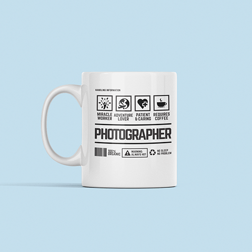 Photographer Handling Sublimation White Mug