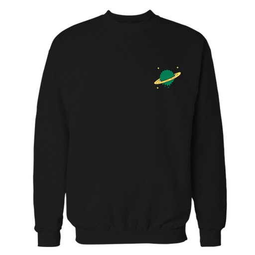 UFO Planet Black Embroidered Cotton Sweatshirt