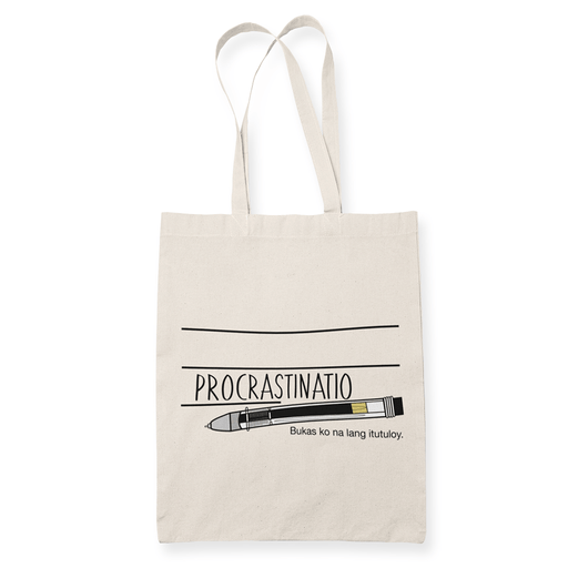 PROCRASTINATIO A3 Sublimation Canvass Tote Bag