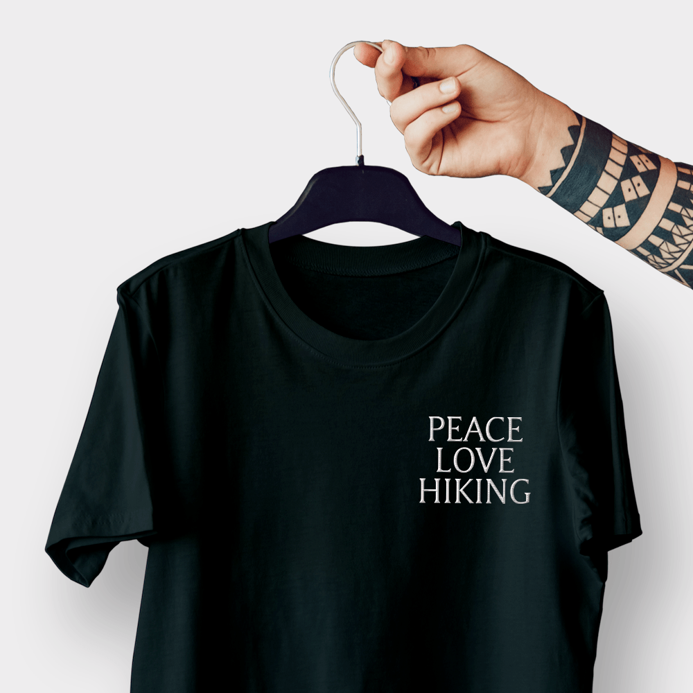 Peace Love Hiking Black Embroidered Shirt