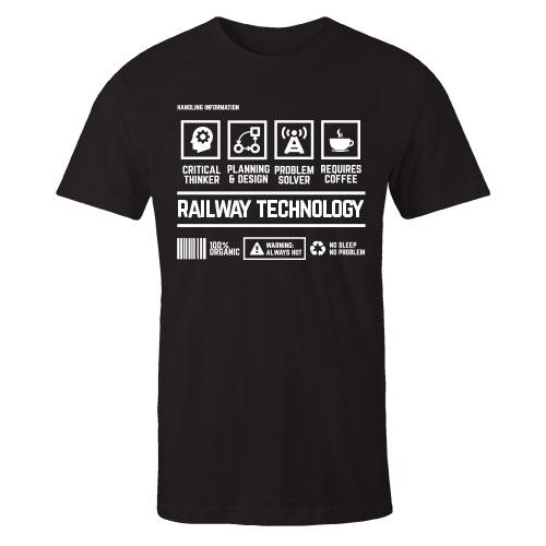 Railway Technology Handling Black Cotton Shirt
