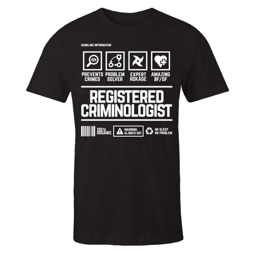 Registered Criminologist Handling Black Shirt