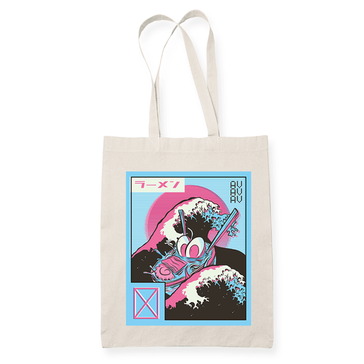 Ramen Love Wave Sublimation Canvass Tote Bag