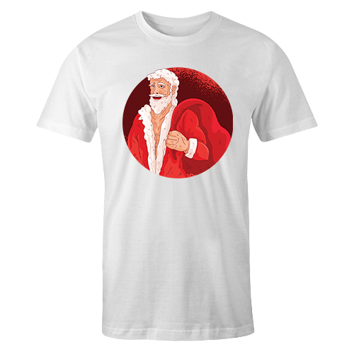 Santa Ripped Sublimation White Dryfit Shirt