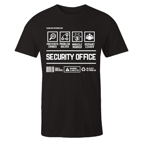 Security Office Black Cotton Shirt