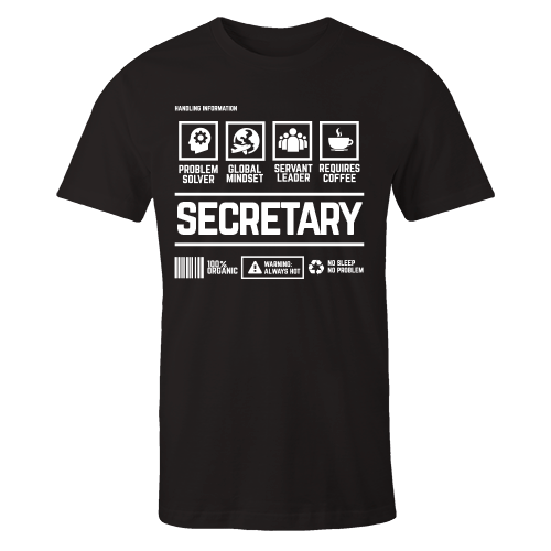 Secretary Handling Black Cotton Shirt