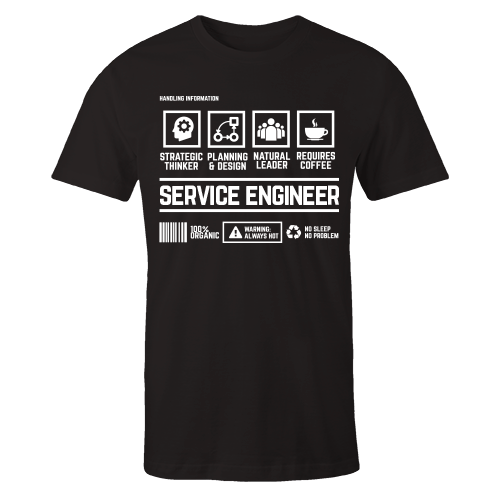 Service Engineer Handling Black Cotton Shirt