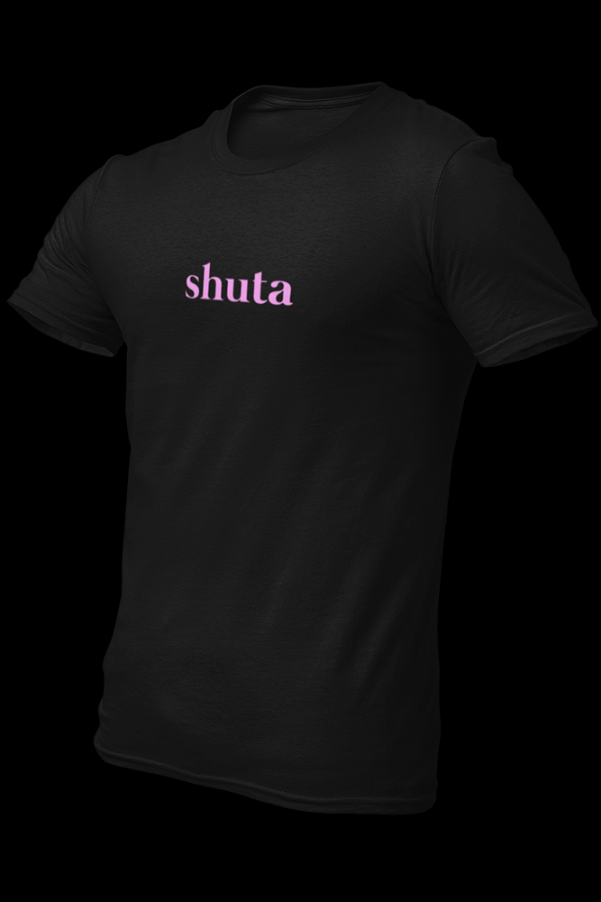 shuta Black Embroidered Pink Light Print Cotton Shirt