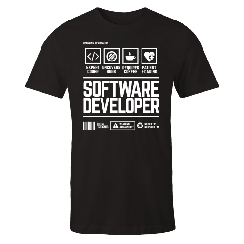 Software Developer Handling Black Shirt