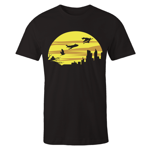 Up in the sky Black Cotton Shirt