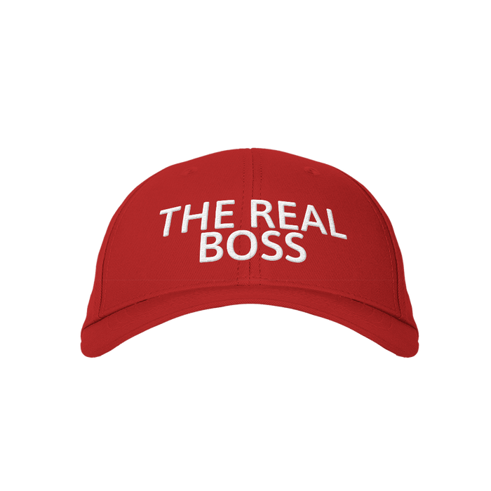 The Real Boss Red Embroidered Cap