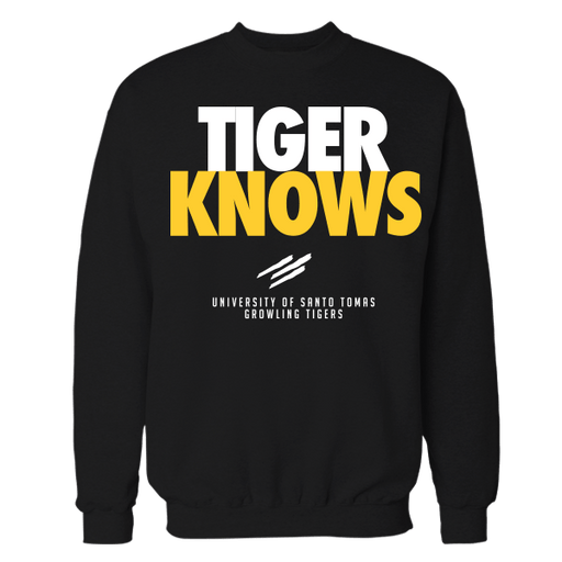 Tiger Knows Black Cotton Sweatshirt