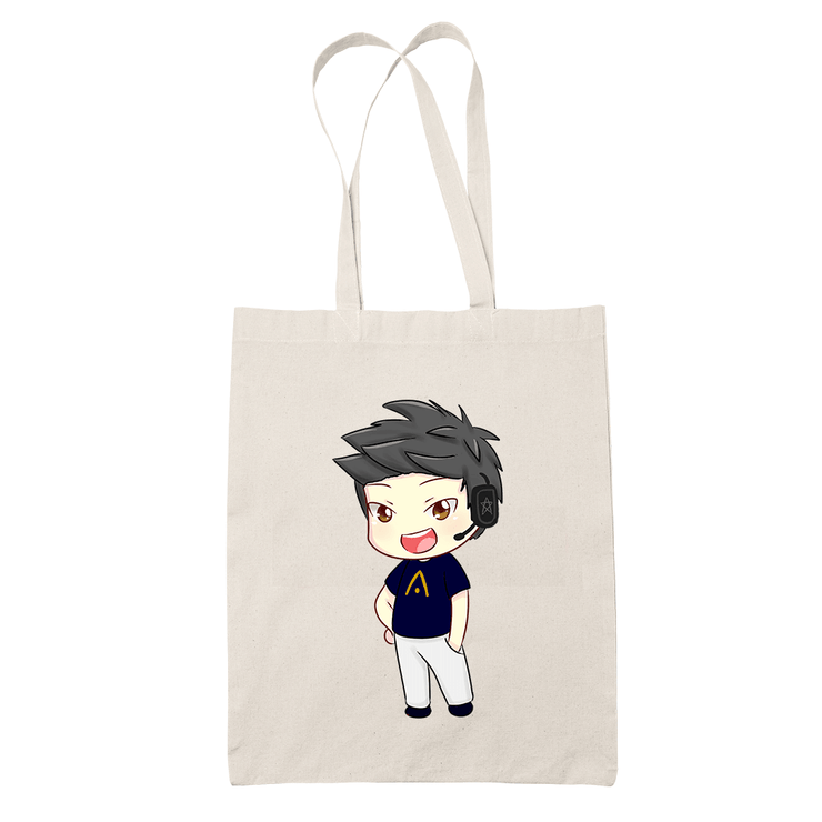 Ameishja Black Chibi Sublimation Canvass Tote Bag