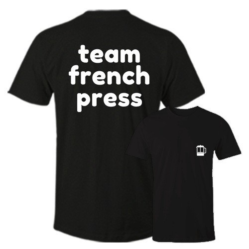 Team French Press Black Cotton Shirt Pocket Size Print