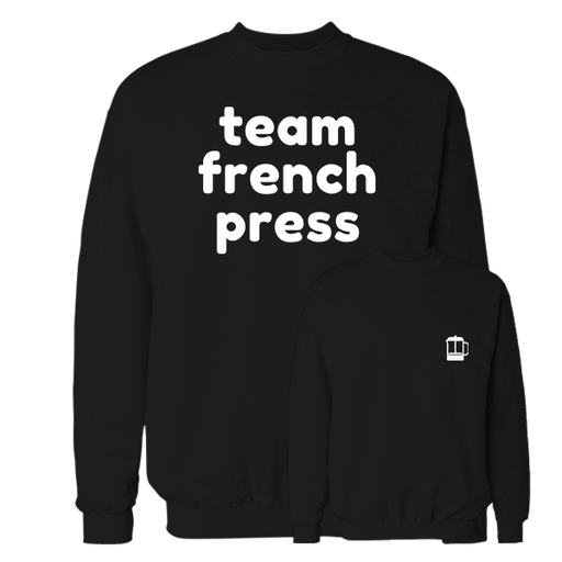 Team French Press Black Cotton Sweatshirt Pocket size print