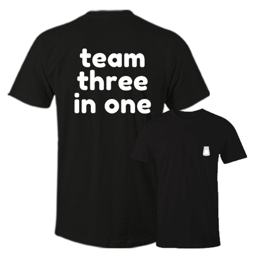 Team Three In One Black Cotton Shirt Pocket Size Print