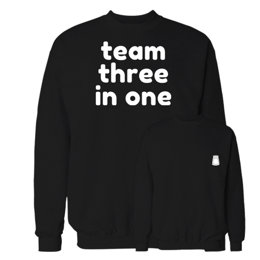 Team Three In One Black Cotton Sweatshirt Pocket size print