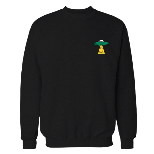 UFO Ship Black Embroidered Cotton Sweatshirt