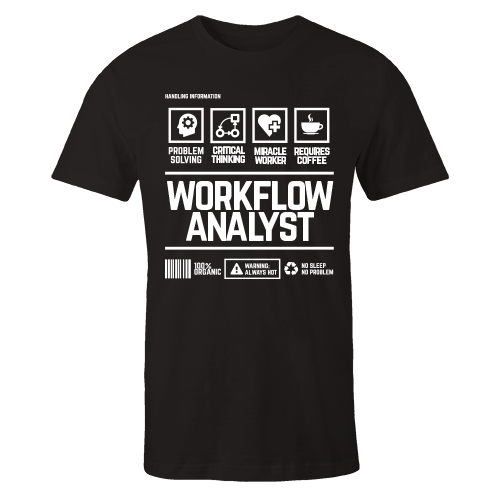 Workflow Analyst Handling Black Cotton Shirt